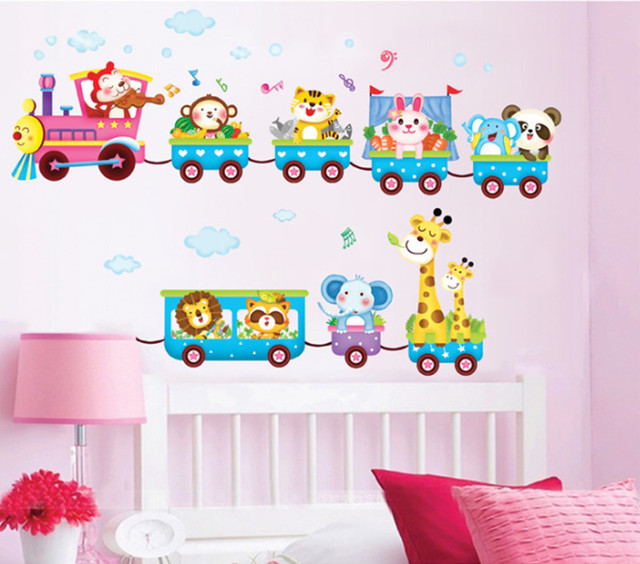 1Pc Animals On Train Wall Stickers Cartoon Vinyl Decals Kids Bedroom  Wallpaper Home Nursery Decor