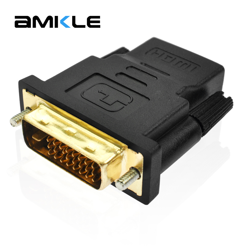 Amkle DVI 24+1 Pin to HDMI Adapter Converter Gold Plated Male DVI 24+1 to Female HDMI Converter 1080P for PC PS3 Projector HDTV цены