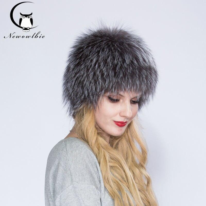 7be914cf5 US $50.49 49% OFF|2019 ENJOY FUR Women winter fur hat genuine fox fur hats  knitted silver fox fur caps female russian bomer caps-in Bomber Hats from  ...