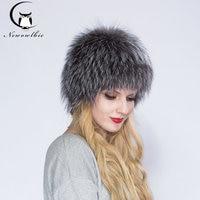 2019 ENJOY FUR Women winter fur hat genuine fox fur hats knitted silver fox fur caps female russian bomer caps