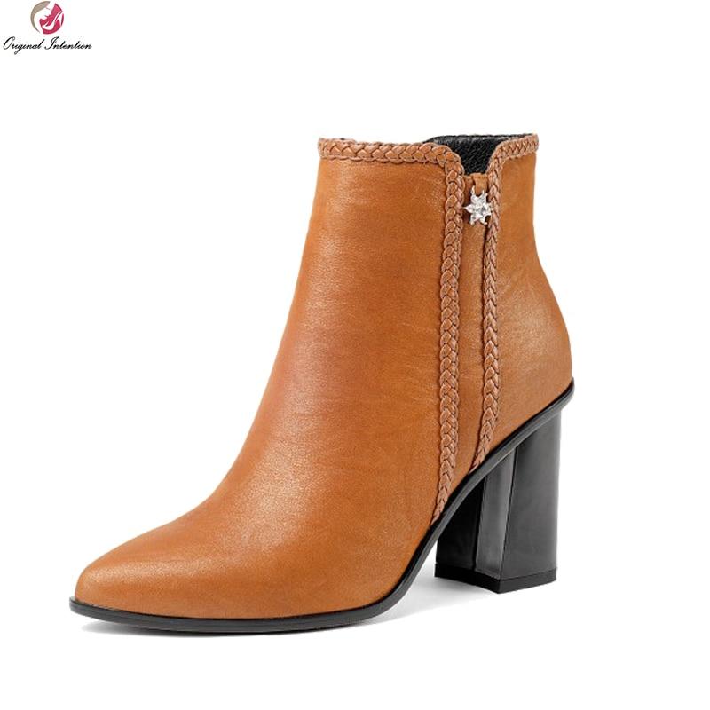 Original Intention New Stylish Women Ankle Boots Pointed Toe Square Heels Boots Elegant Black Orange Shoes Woman US Size 3-10.5 стоимость
