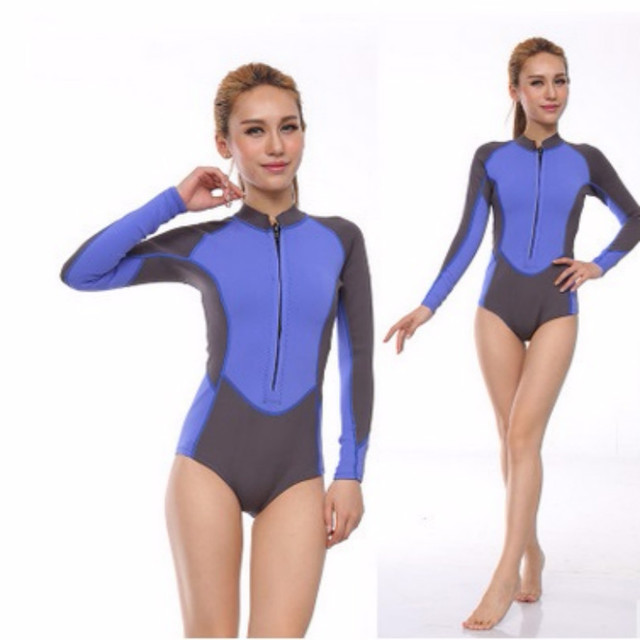 c53a707dc535b 1MM Women Neoprene Long-Sleeved Surfing Spearfishing Wetsuit One Piece  Snorkeling Jumpsuits Scuba Swimsuit Diving Equipent