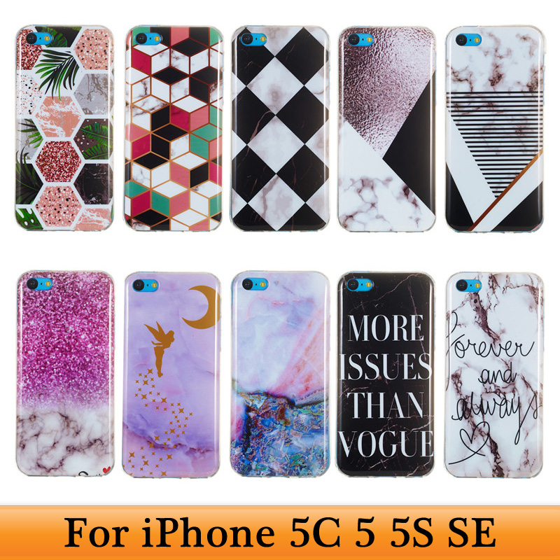 For Coque iPhone 5 5G 5S S5 SE 5C Coque iPhone 5SE Soft Silicone Fashion Marble
