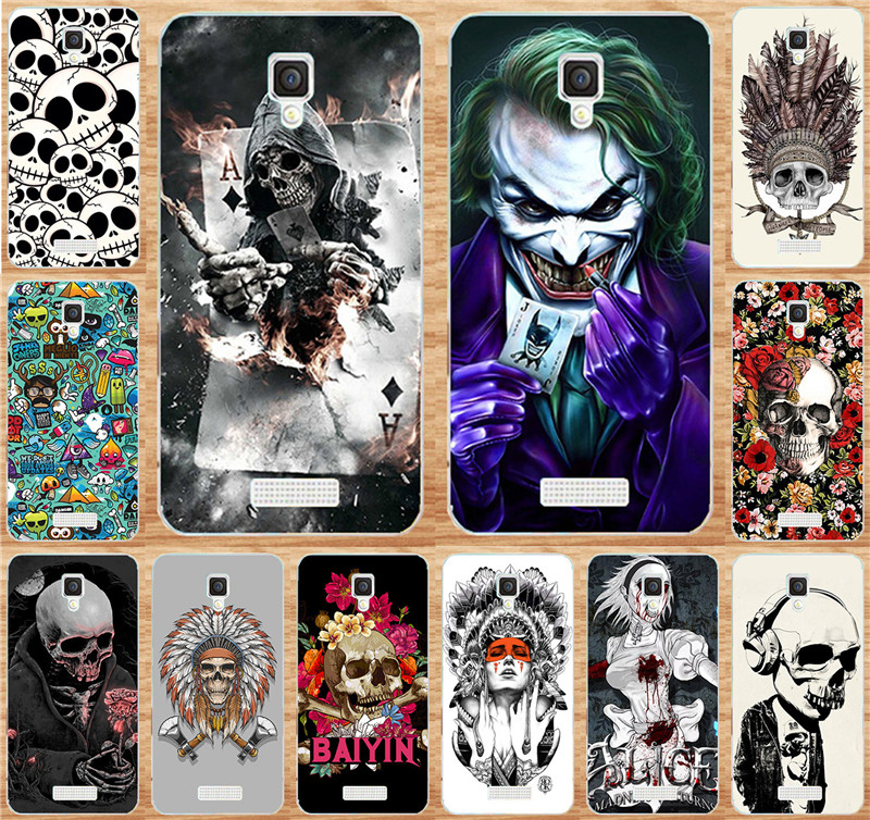 Painted Phone Case Fundas For Lenovo A1000 A 1000 Case Cover Colorful Skull Cool Head Painting Cover Skin Shell Hood Capa Para