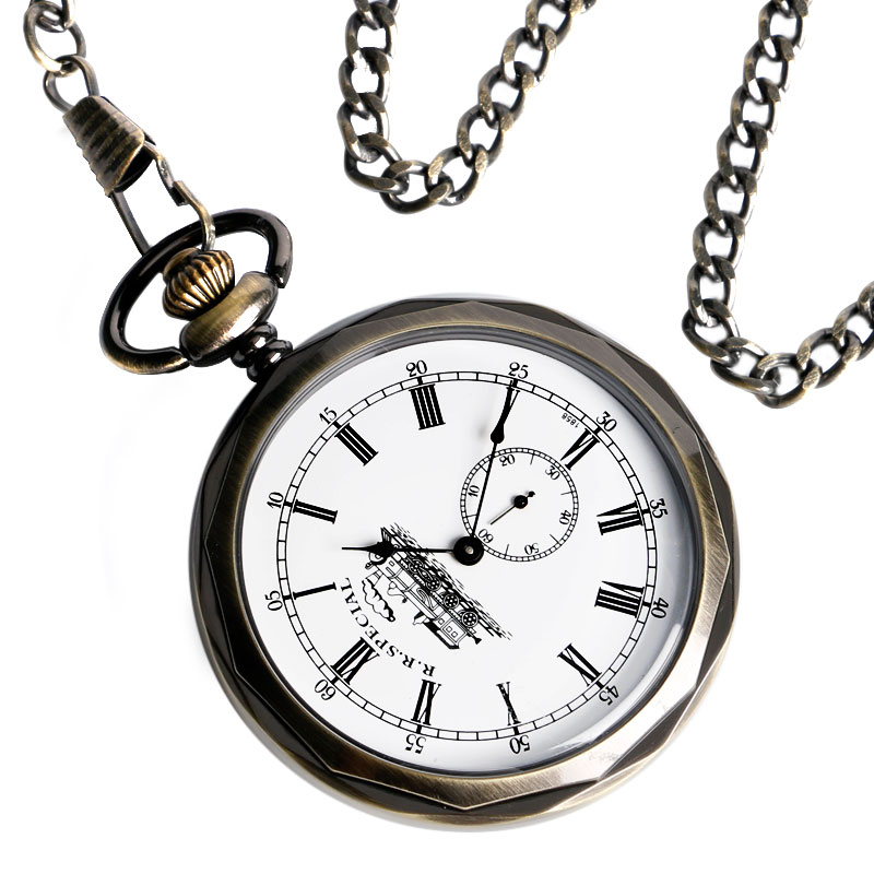 Steampunk Unique Seconds Small Dial Display Mechanical Pocket Watch Open Face Bronze Hand-winding Pendant Clock Birthday Gifts