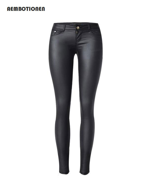 Women's Clothing Women Sexy Low Waist Pu Leather Black Skinny Motorcycle Pants