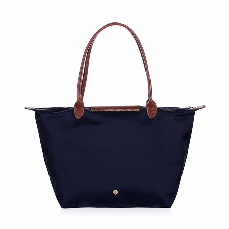 New-folding-shopping-bag-women-nylon-bag-casual-tote-bag-lightweight-foldable-waterproof-nylon-handbag-black (2)