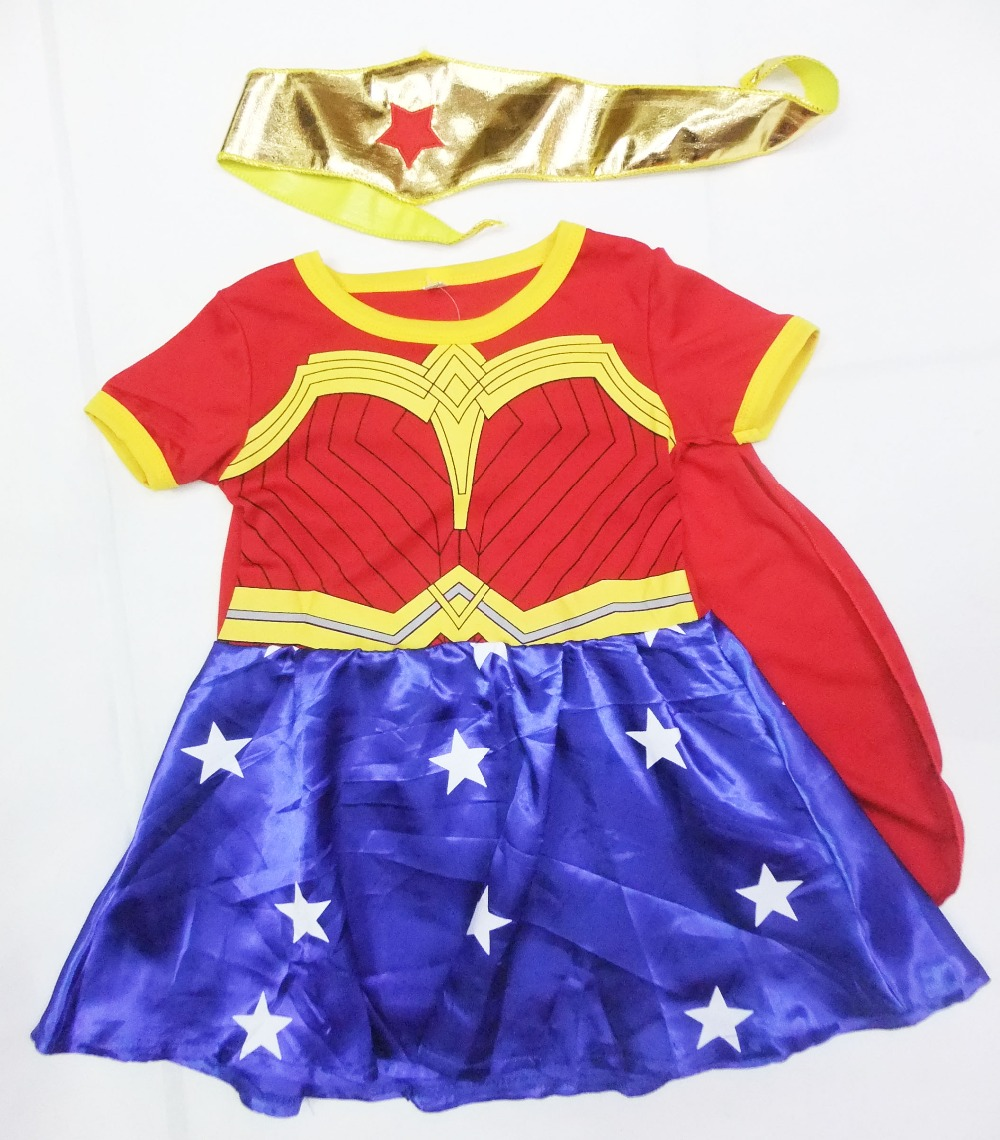 Red 3 - 7 years Girl Party decoration chrismas short sleeves Wonder woman superman dress Cosplay & (shawls+scarf)
