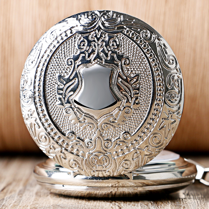 Luxury Mirror Shield Silver Hand Winding Mechanical Cool Skeleton Analog Wind Up Men Women Pocket Watch Chain Gift 2017 new arrival luxury gold transparent skeleton hand wind mechanical pocket watch with chain for men women birthday gift