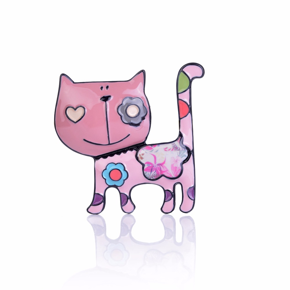 Cring CoCo Cat Brooches for Women Enamel Stainless Steel Alloy Brooches Pins Girls Scarf Sweater Clips Badges Jewelry Pin in Brooches from Jewelry Accessories