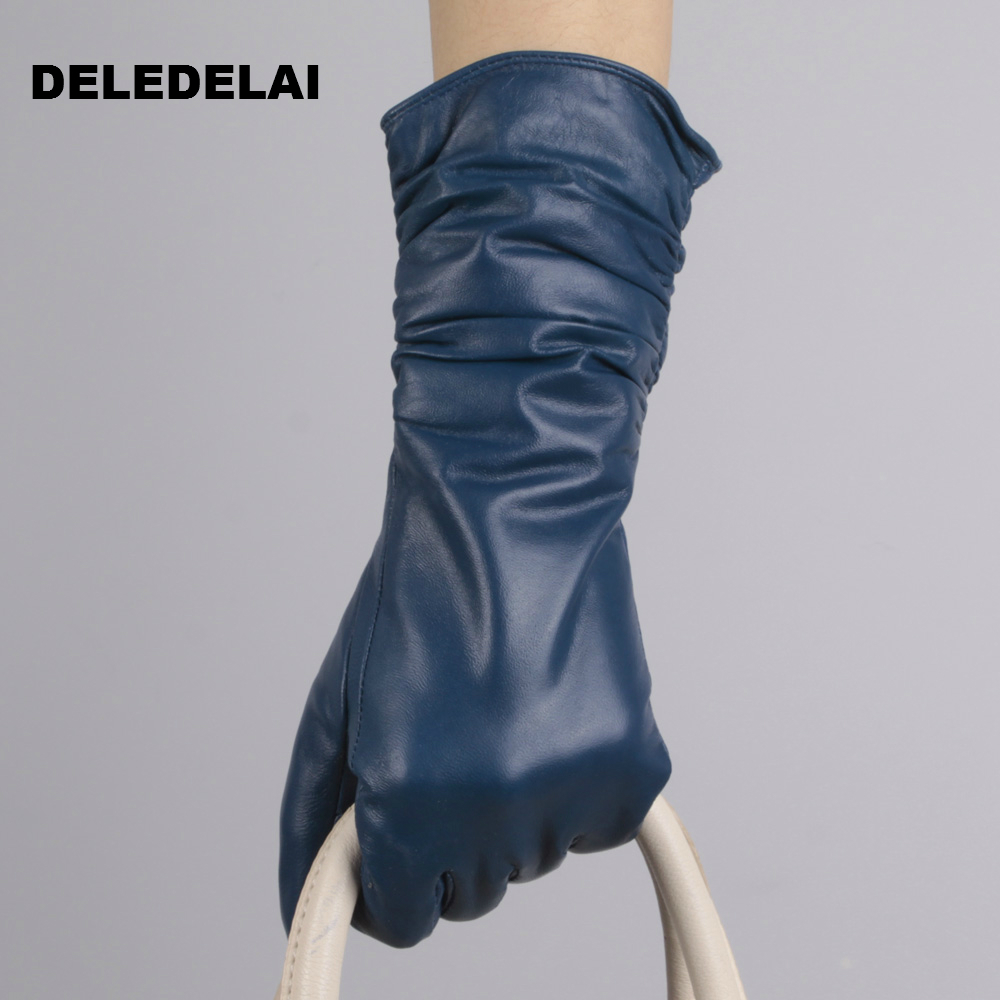Womens leather gloves australia - Deledelai Women Thick Sexy Leather Driving Long Gloves Party Show Gift Fashion Sexy Evening Mittens Female