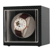 Mini Silent Watch Winder Automatic Carbon Fiber Interior Case Leather PU Box Portable Rotating Watches