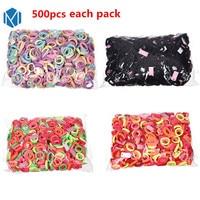 M MISM 500Pcs Pack Multicolor Hair Elastic Band Bezel For Children Kids Girls Simple Hair Accessories
