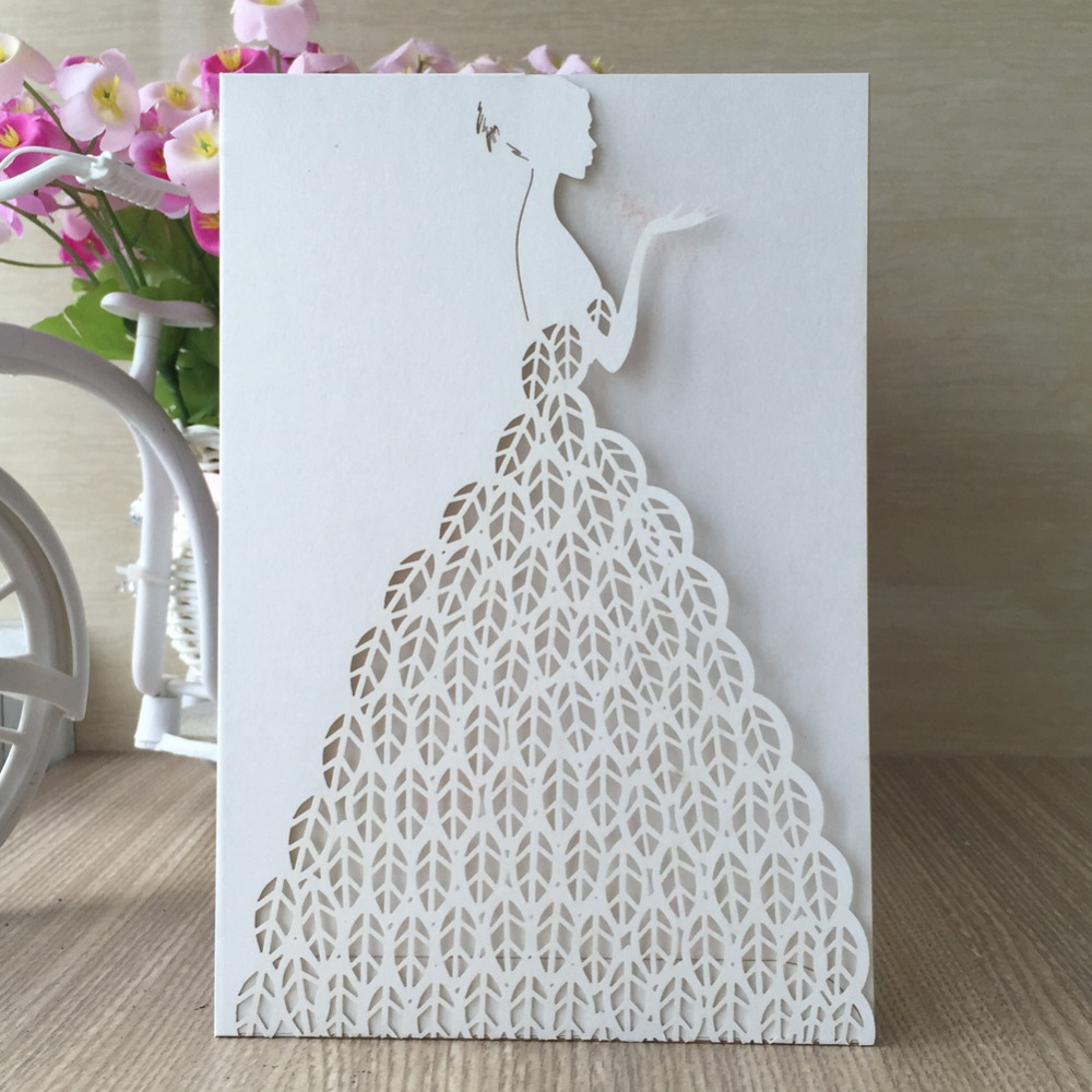 Shirt design card - 30pcs Lot Hot Sale Free Shipping Wedding Invitation Card Laser Cut Bridge Romantic White Shirt Design 23color Christmas Birthday