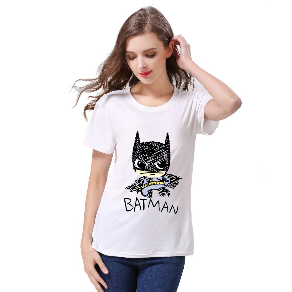 women short sleeve shirt Women T-shirt Batman Printed Tees Super Hero Basic Harajuku Bottoming Tops Free Shipping