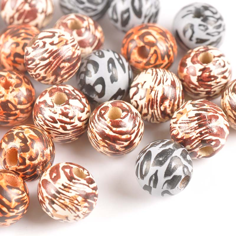 15mm 10pcs Mixed Color Freehand Sketching Leopard Print Wooden Spacer Beads For Jewelry Making MT2188