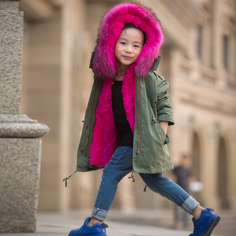 New Girls Fur Coat Baby kids Outerwear Rabbit Fur Liner Windbreaker Children Coats & Jackets For Cold Winter Warm Coat For Boys