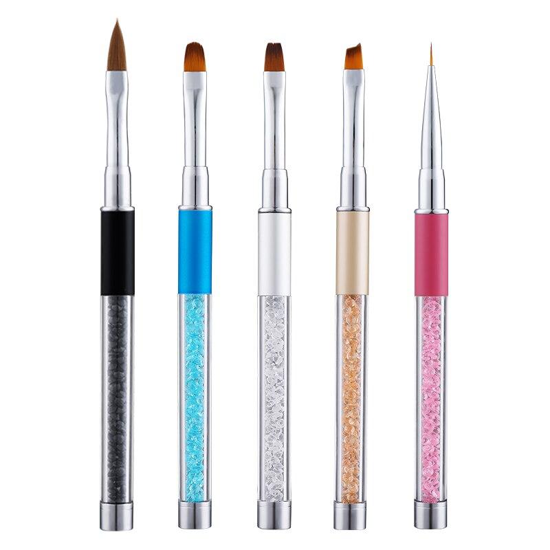 Кисти для дизайна ногтей PinPai Стразы Алмазная металлическая ручка для рисования жидкость для ногтей акриловые кисти для рисования УФ-гель д...