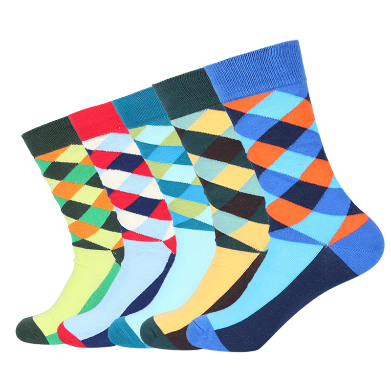 Dropshipping 5 Pairs/Lot Warm Men's Socks Harajuku Funny Mens