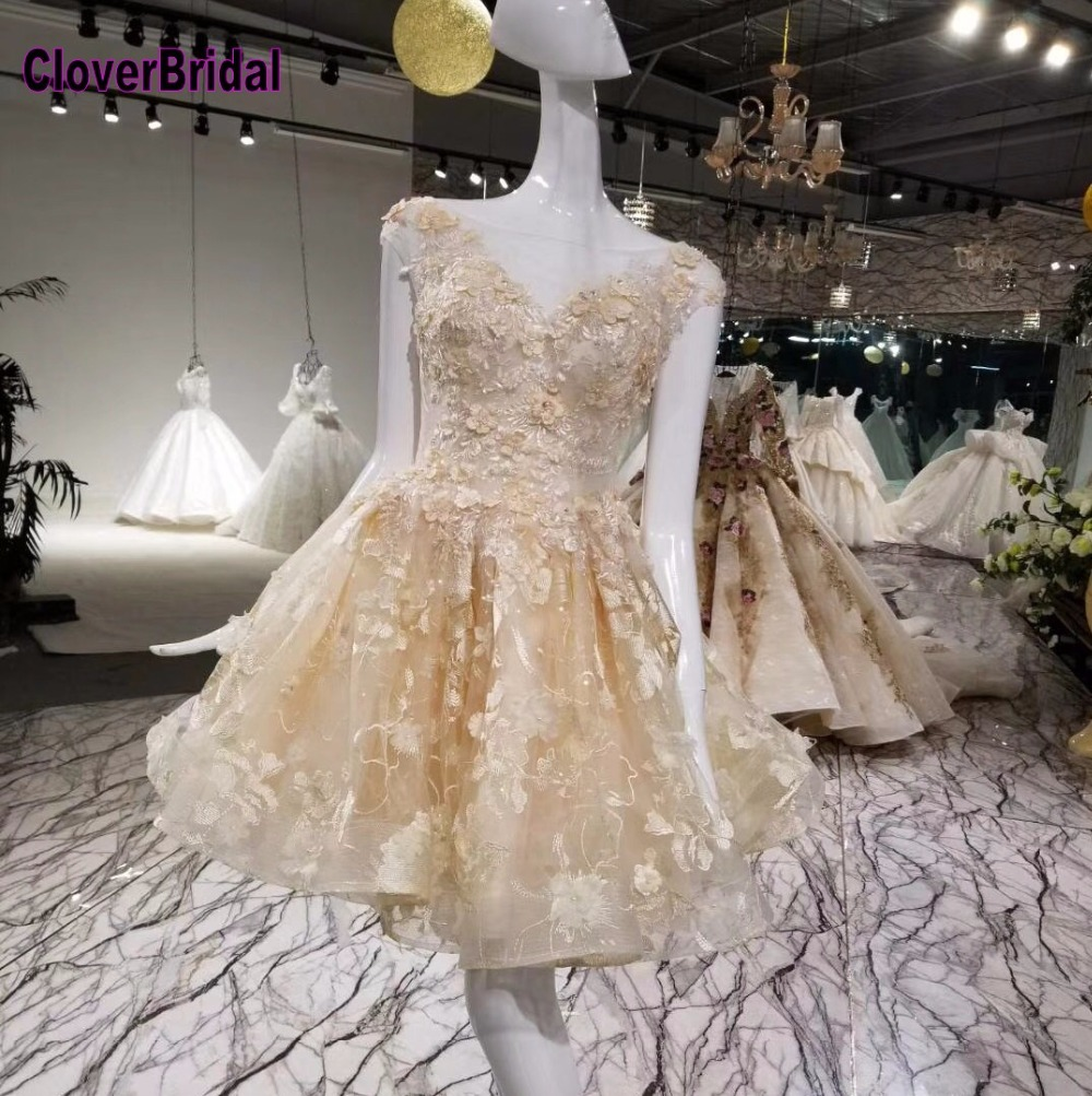 CloverBridal 2018 Champagne Short Lace Sleeveless Graduation Teenagers Girls 9th Gown Invisible Zipper Back Girls Teenager
