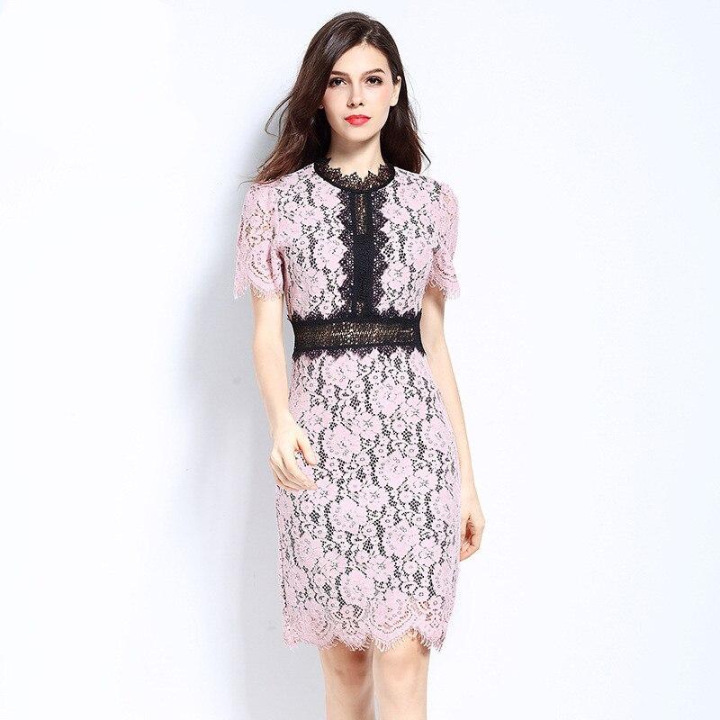 Haute qualité 2019 star été grande taille robes pour les femmes lâche élégant décontracté dentelle à manches courtes grande taille rose robe 4XL 5XL