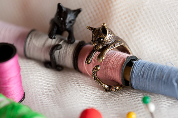 QIAMNI Handmade Cute Animal Cat Ring for Women Girls Men Christmas Kitty Tail Fa