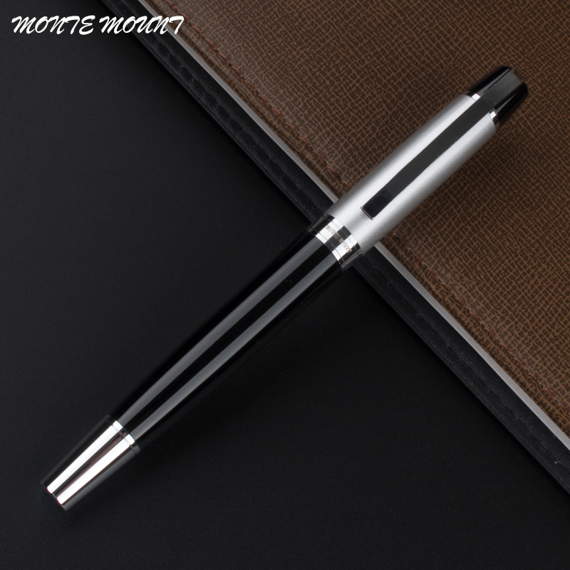MONTE MOUNT Silver and black School Supplies metal Business pen Office Stationery Writing marker roller ball pen refill roller ball pen jinhao 189 noblest ancient silver medium 0 7mm nib great wall pen