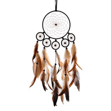 Indian six ring large dream catcher wind bell feather pendant home ornaments birthday gift shop dream bestie lover gift té russ dream lover