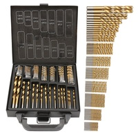 Doersupp 99pcs Titanium Coated HSS Twist Drill Bits Set And Case Plastic Wood Metal Kit Top