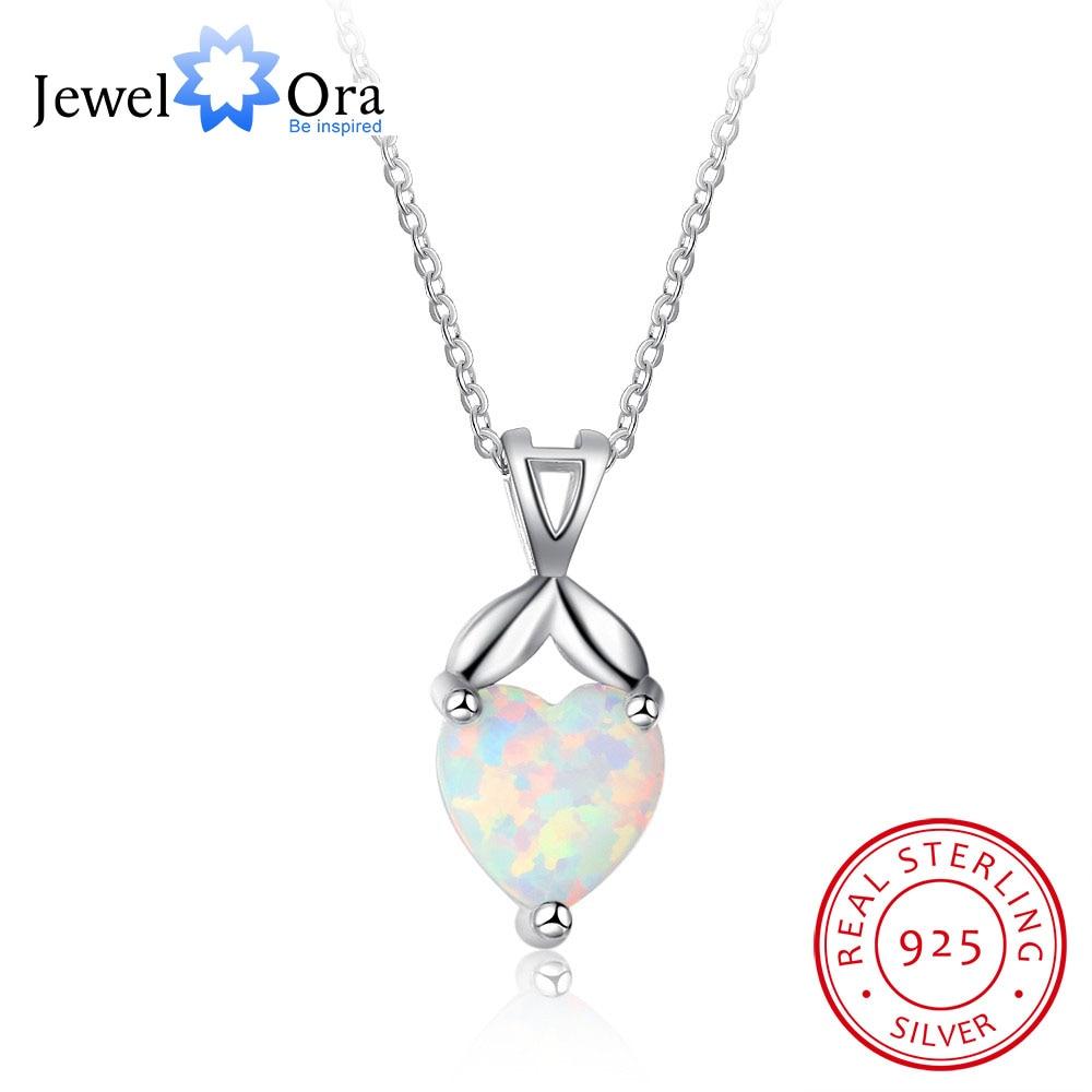 Heart Shape Pendant Necklace Love Jewerly 925 Sterling Silver Opal Stone Necklace & Pendants Christmas Gift (JewelOra NE101999)