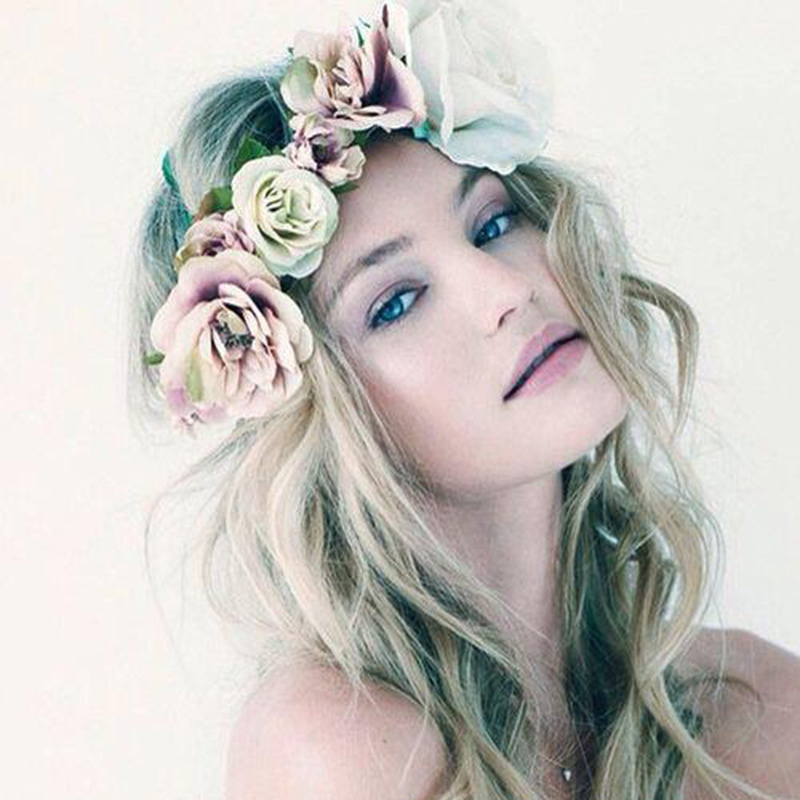 Women Hair Accessories Flower Wreath Wedding Party Garland Handmade Rose Floral Crown Girls Flower Headband Bridal Headdress