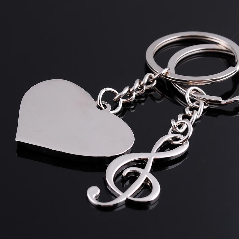 love heart music notes detachable couple keychain best key ring key
