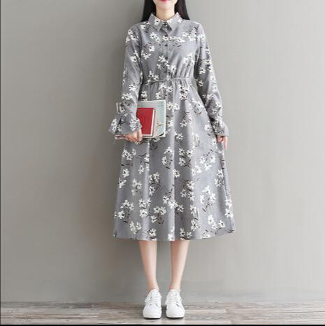 23eab31642 Mori Girl Robe Femme Autumn Winter Floral Printed Vintage Dress Women Long  Sleeve Corduroy Dresses Gray Khaki Vestido AW529