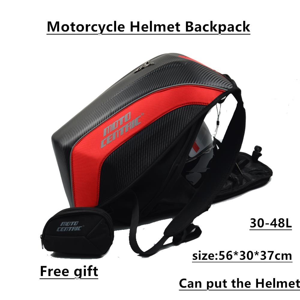 Grand sac à dos de Moto en Fiber de carbone coque rigide sac de Moto bagages étanche casque de Moto sacs Zaino Moto 30-48L