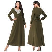 Fashion Women Long Sleeve Maxi Party Dress Abaya Muslim Kaftan Robe Gown Islamic Clothing Casual Slim Round Collar Dubai Dresses