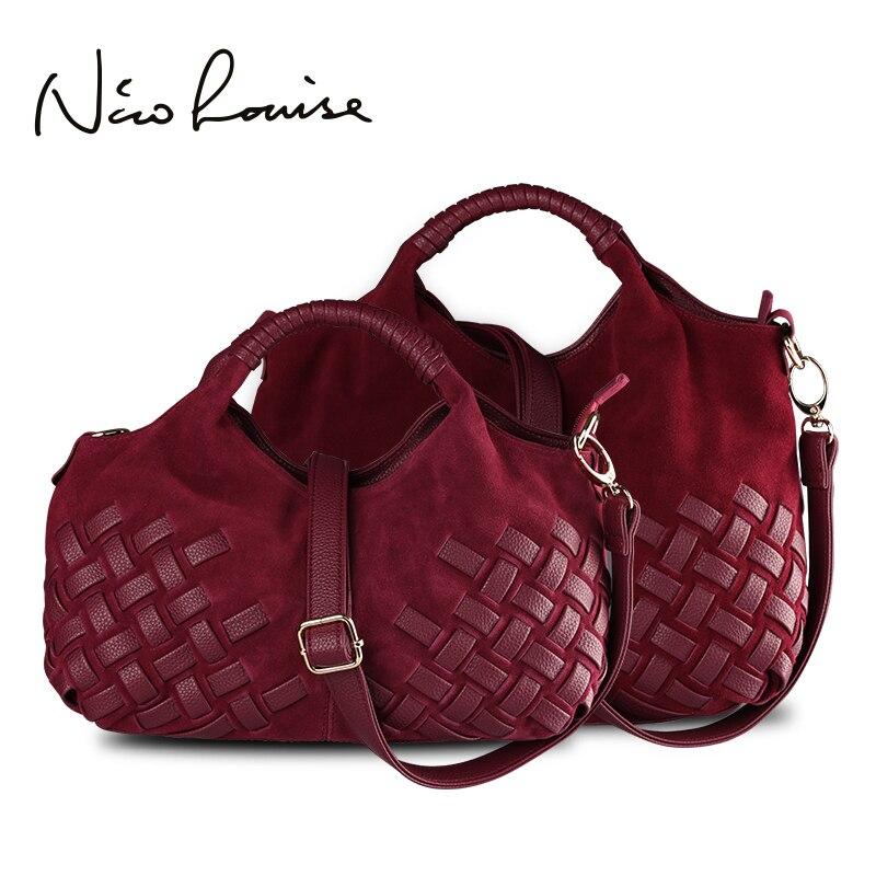 Latest Women Weave Nubuck Leather Handbag Female Leisure Casual Lady Crossbody Shoulder Bag Messenger Top-handle Bags Sac a main