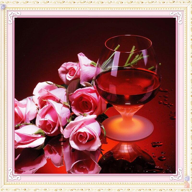 Вышивка крестом бокал и роза