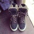 Mujer zapatos femeninos ascensor de algodón acolchado zapatos termales, además de terciopelo bereber de lana de alta cordón zapatos casuales botas de nieve
