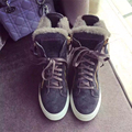 Woman shoes elevator female cotton padded shoes thermal plus velvet berber fleece high lacing casual shoes snow boots