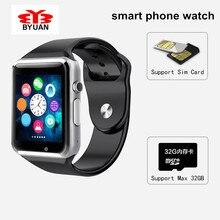 Precio al por mayor A1 Reloj Inteligente Reloj de Sincronización Notificador Apoyo TF Tarjeta SIM Conectividad de Apple para iphone Android Teléfono Smartwatch