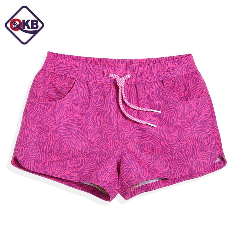 QIKERBONG  New 2017  Lady Casual Shorts Women Beachwear Shorts Women Shorts Pink Color  Print Design Shorts Quick Drying Fabric