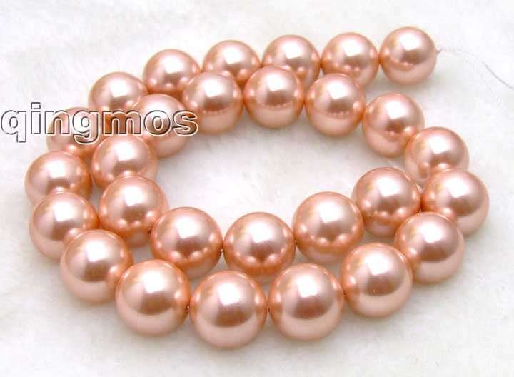 AAA GRADE Round Big 14mm Pink Sea shell PEARL strands 15-los257 Wholesale/retail Free shipping