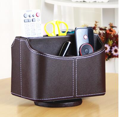 5-slot home rotating desktop leather storage box case organizer for remote controller cosmetics makeup sundries 257A