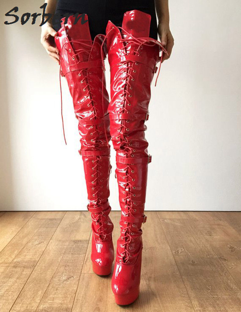 Thigh High Red Boots