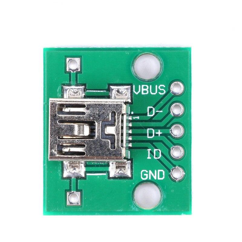 251020Pcs Mini USB to DIP 2.54mm Adapter Connector Module Board Panel Female 5-Pin Pinboard 2.54mm Mini USB PCB Type Parts (4)