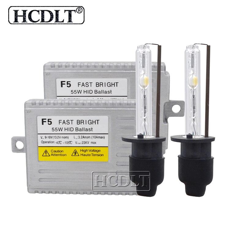 HCDLT 12 V 55 W Kit Xenon H7 H1 H3 H11 HB3 9005 9006 HID Kit phare 6000 K 4300 K 5000 K AC 55 W F5 démarrage rapide Ballast mince réacteur