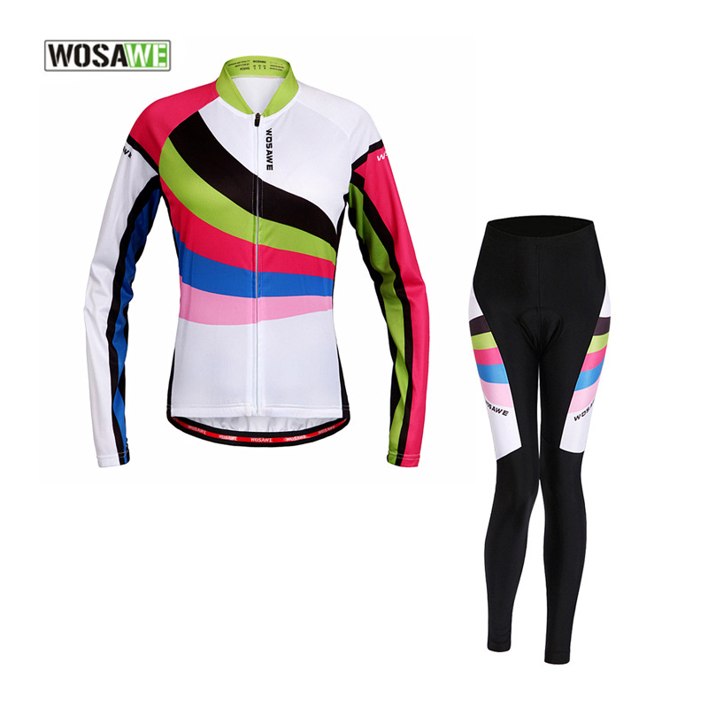 WOSAWE Women Spring Autumn Cycling Sets Long Sleeve Jersey Set Mountain Bike Clothing Bicycle Suit 4D Gel Pad Cycling Clothes cycling jersey womenpurple flowershort sleeve cycling clothing women cycling jersey cycling sets x608