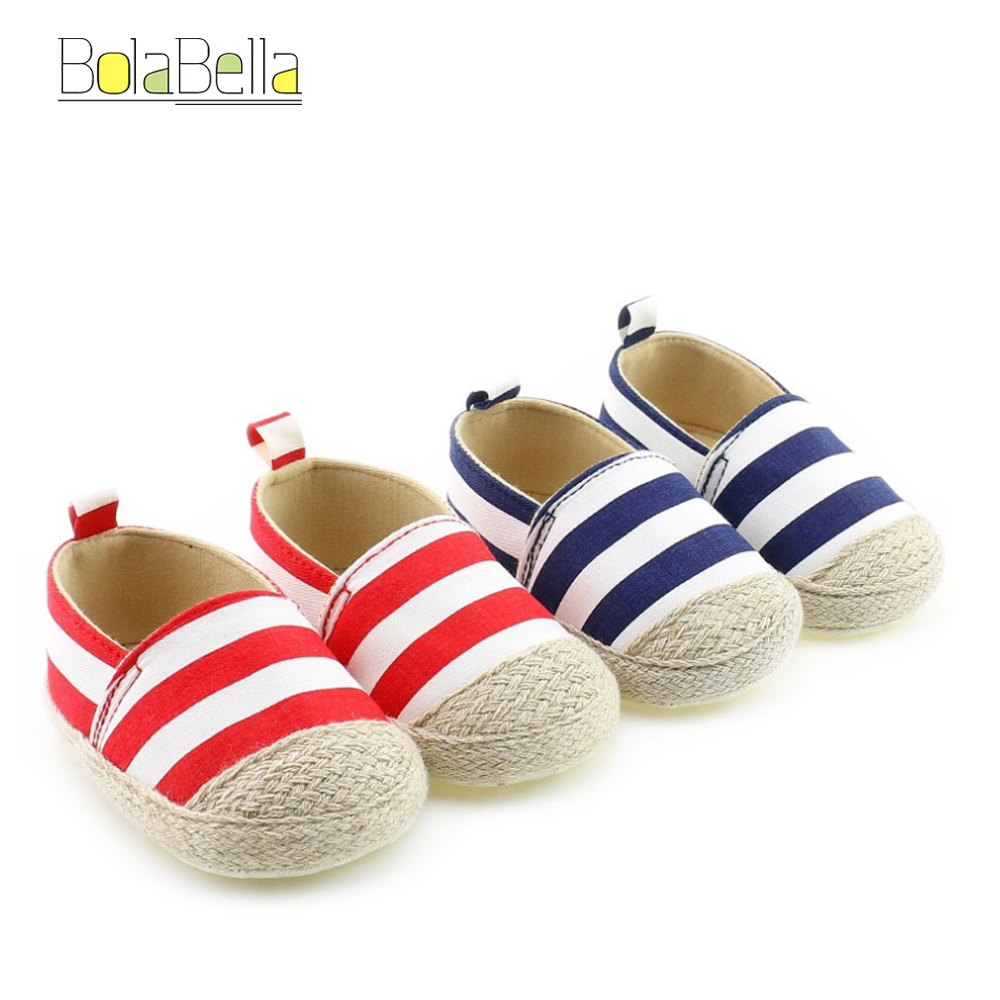 Bolabella Leisure design Hot Newborn Baby First Walk Shoes Boy Girl Blue&Red Color Canvas Shoes 3-12M Soft Sole Toddler Sneaker