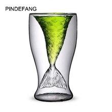 Креативная Русалочка 100 мл с двойными стенками Стеклянная Кружка для коктейлей бар кружка для замораживания льда безопасная чашка для сока шампанское красное вино стеклянная чашка