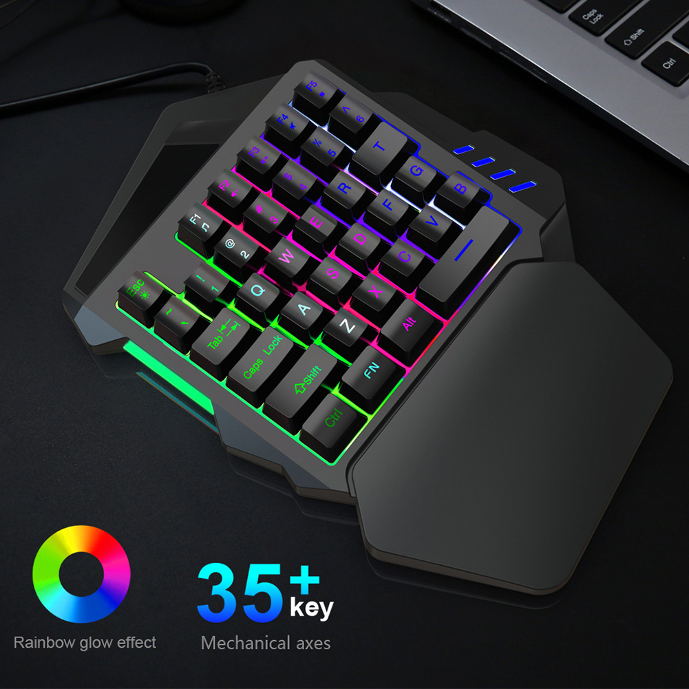 35 Keys Mini Game Left Keyboard One Handed Accessories Numeric Keypad Non Slip Wired Portable LED Backlight USB ABS